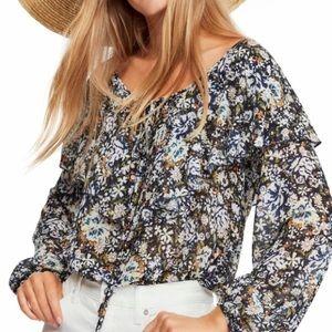Free People Floral Bodysuit Blouse